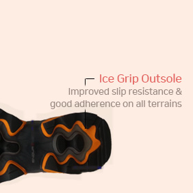 Ice Grip Outsole - Improved slip resistance & good adherence on all terrains
